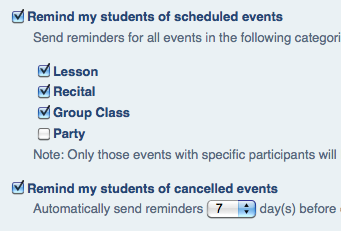 Automatic Lesson Reminder E-mails to Students
